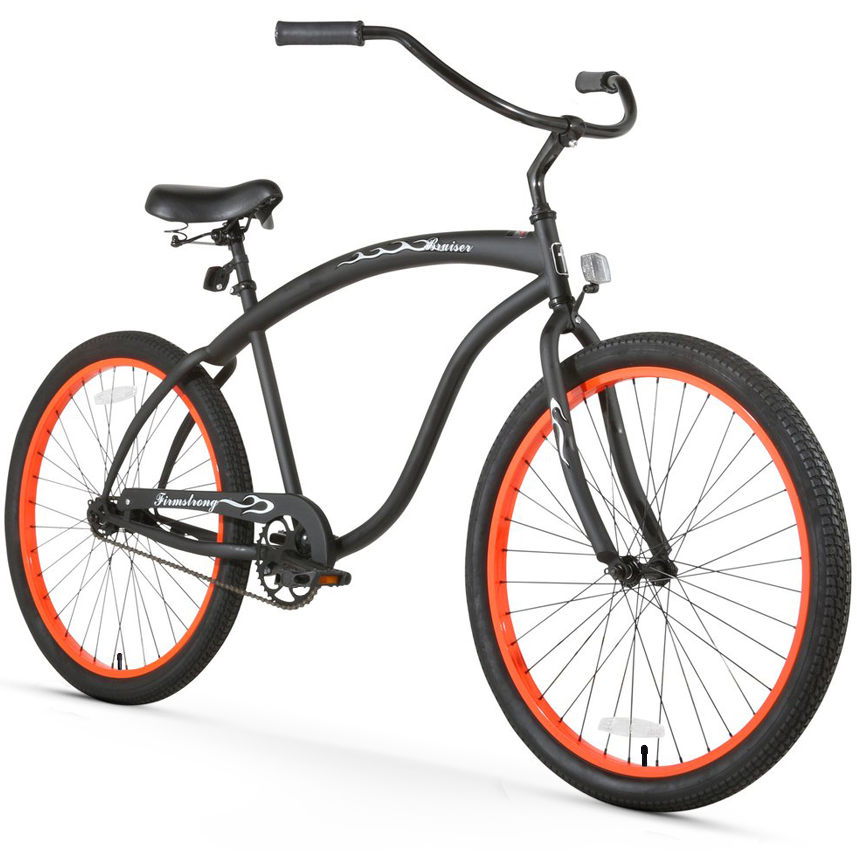 "26"" Firmstrong Bruiser Man Single Speed Beach Cruiser Men's Bicycle, Matte Black with Orange Rims"