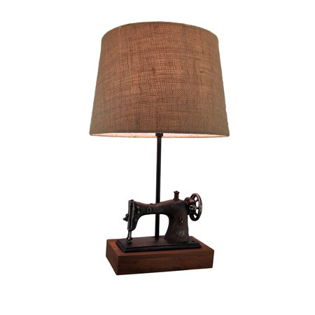 Antique Finish Vintage Sewing Machine Table Lamp w/Burlap Fabric Shade 20 Inch