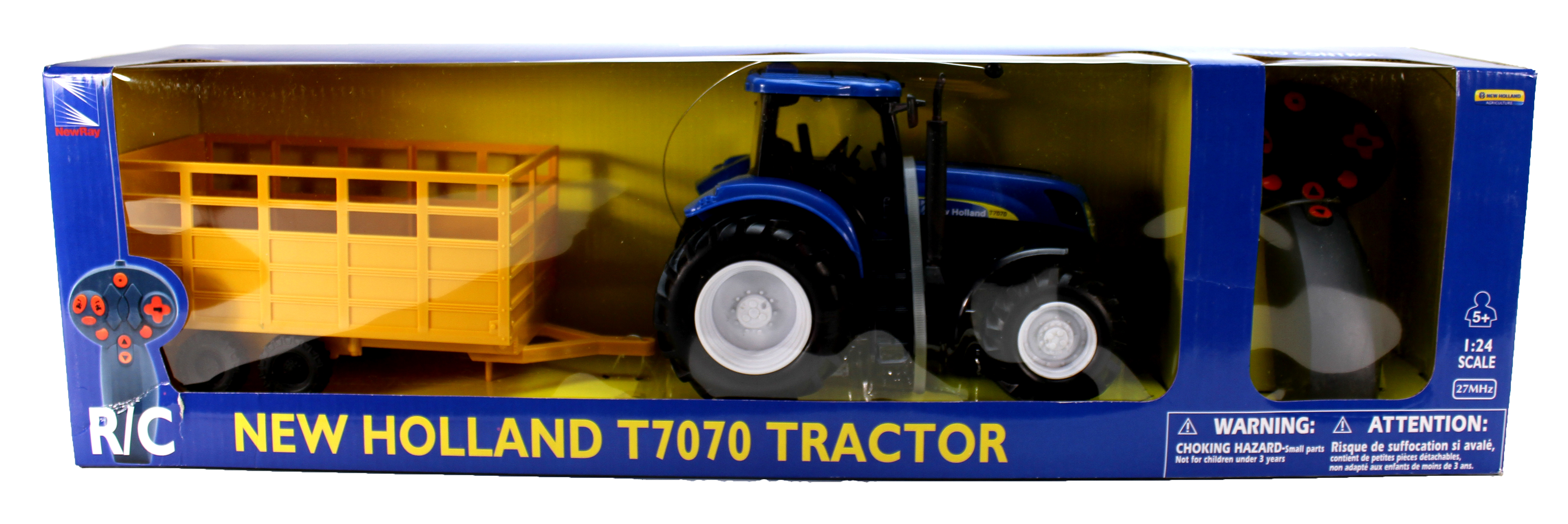 R C 1:24 New Holland T7070 Farm Tractor & Trailer by NewRay