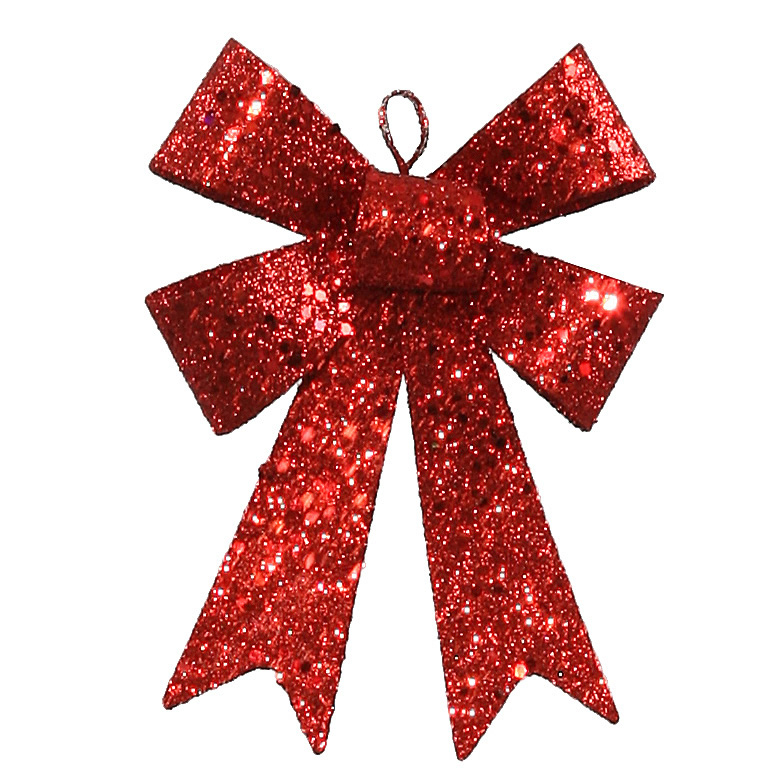 "5"" Red Sequin and Glitter Bow Christmas Ornament"