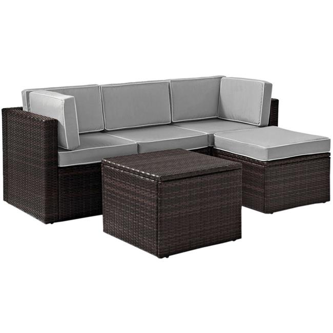 Palm Harbor 5-Piece Outdoor Wicker Sectional Seating Set with Grey Cushions - Brown