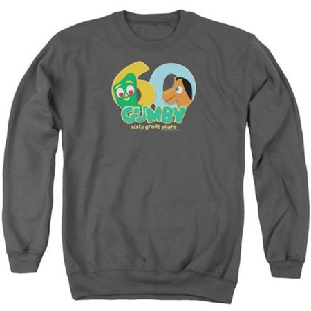 Trevco Gumby-60Th Adult Crew Sweat Tee, Charcoal - - Gumby Suit