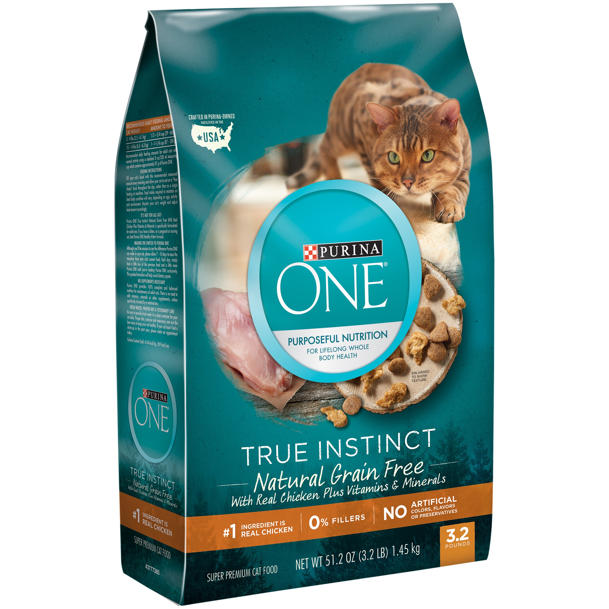 Purina ONE True Instinct Natural Grain Free With Real Chicken Plus Vitamins & Minerals Adult Dry Cat Food, 3.2 lb