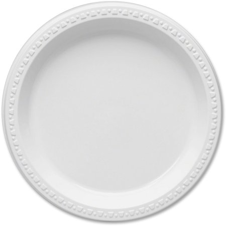 Tablemate, TBL9644WH, Party Expressions Plastic Plates, 125 / Pack, White - White Party Plates