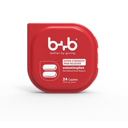 b+b EXTRA STRENGTH Acetaminophen Caplets | Pain Reliever + Fever Reducer | No Red Dye 40 | 500 mg | 24 Count Blister