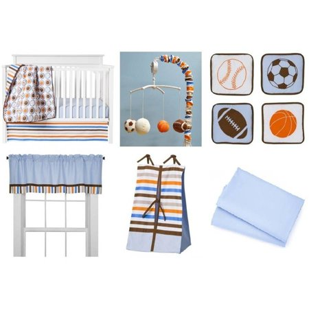 Bacati - Mod Sports 11-Piece Nursery in a Bag Crib Bedding Set 100% Cotton Percale Boys Crib Bedding Set with 2 crib fitted sheets (Sport Bedding Crib)