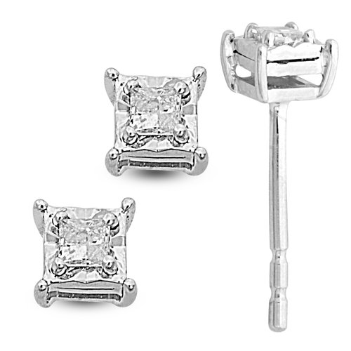 1/10 Carat T.W. Princess-Cut Diamond Sterling Silver Stud Earrings