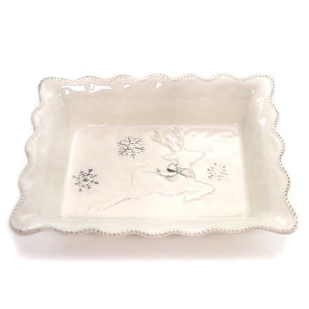 Tabletop HOLIDAY DANCER CASSEROLE DISH Christmas Reindeer Snowflakes 1763152 (Snowflake Dishes)