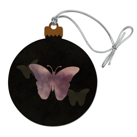 Purple Butterfly Watercolor Silhouette Wood Christmas Tree Holiday Ornament