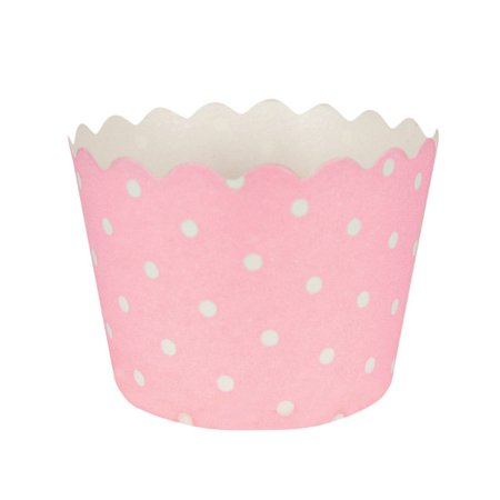 Scallop Top Classic Pink Dot Baking Cups (12 ct) - Pink Baking Cups