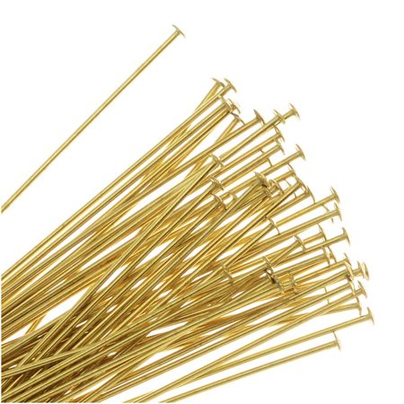 Head Pins, 1.5 Inches Long and 22 Gauge Thick, 50 Pieces, Gold Tone Brass ()