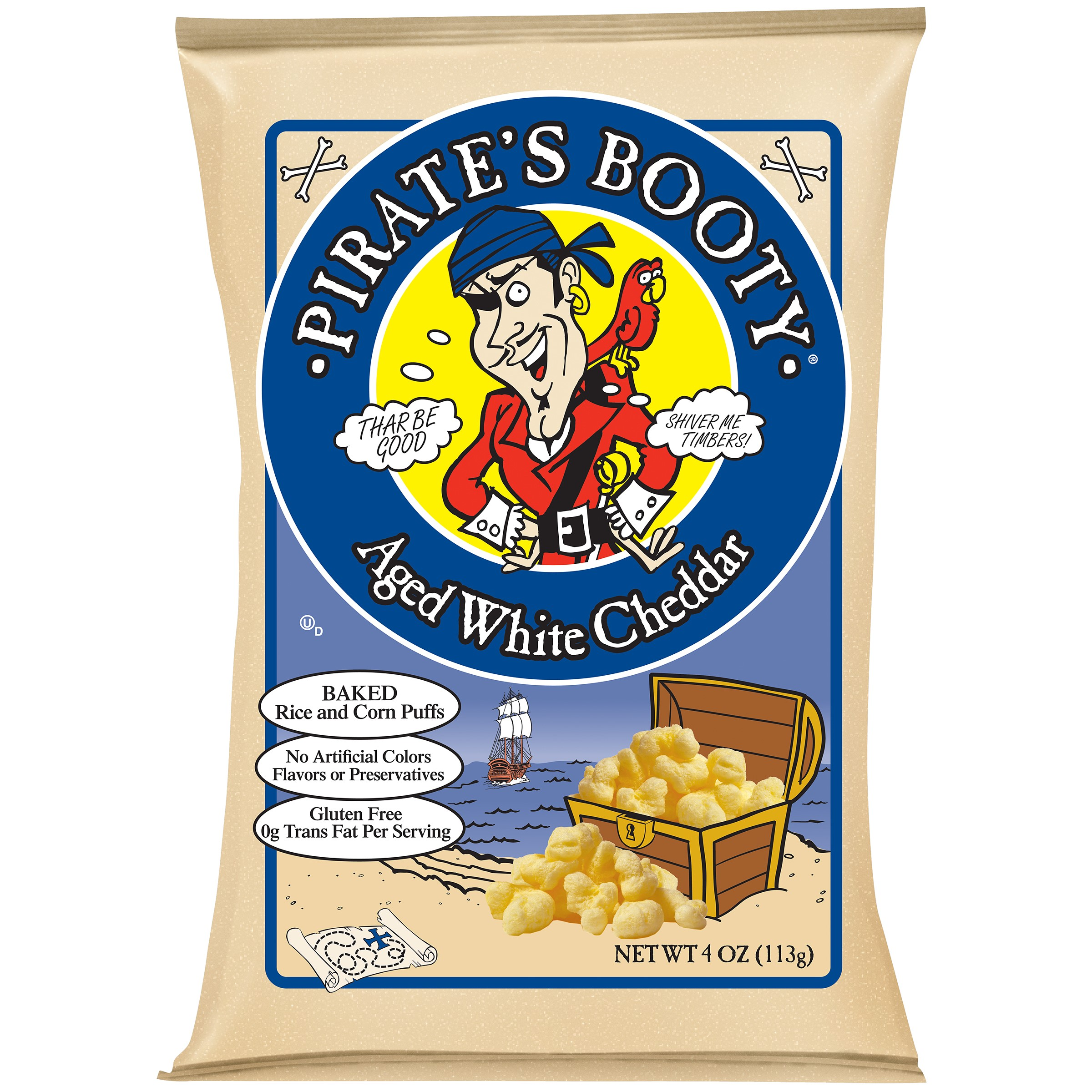 Pirate's Booty Puffs, Aged White Cheddar, 4 Oz