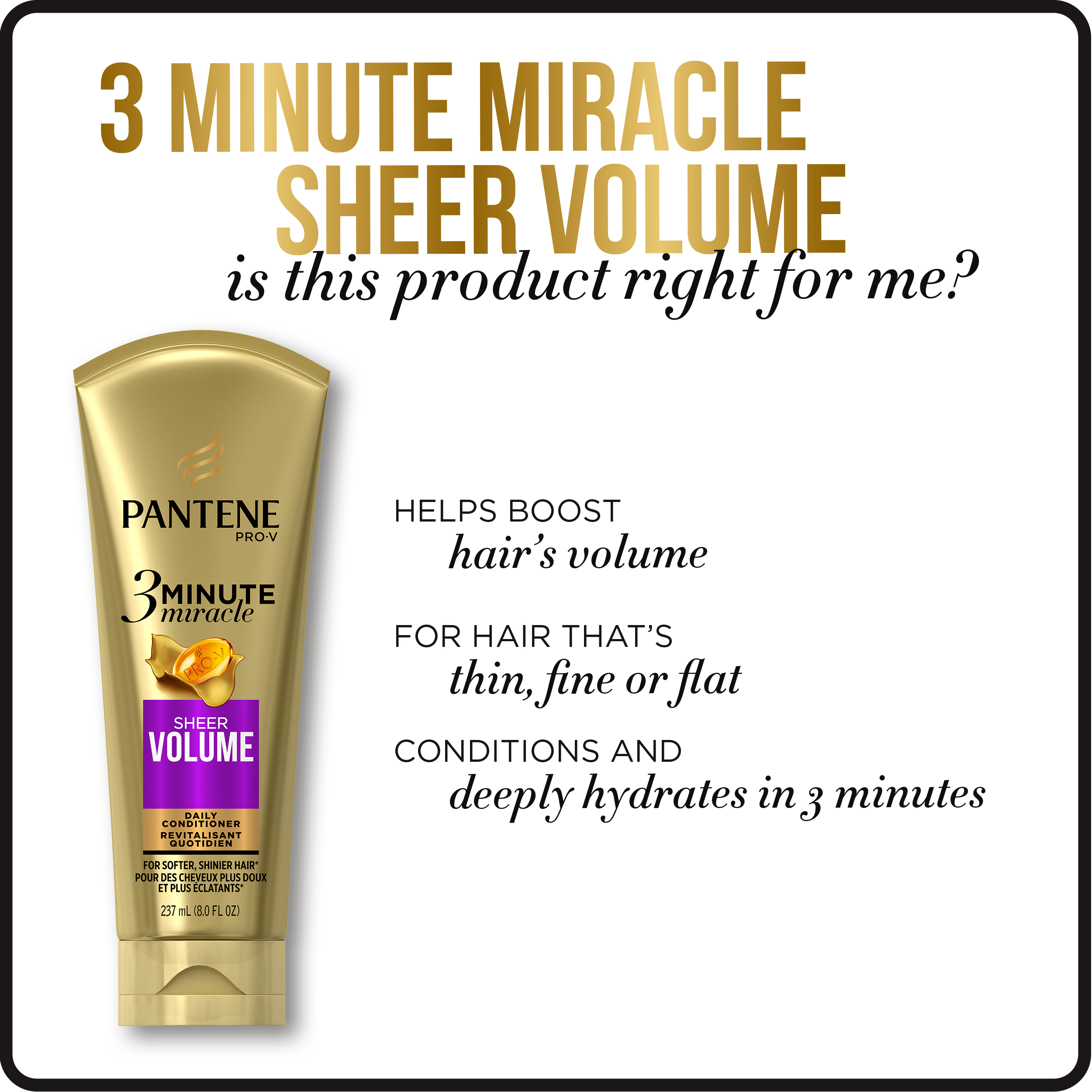 Pantene Sheer Volume 3 Minute Miracle Daily Conditioner, 8.0 fl oz ...