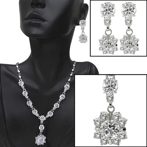 "Stunning & Big 75.00 Ct Cubic Zirconia CZ 18"" Necklace and Dangle Earrings Set"