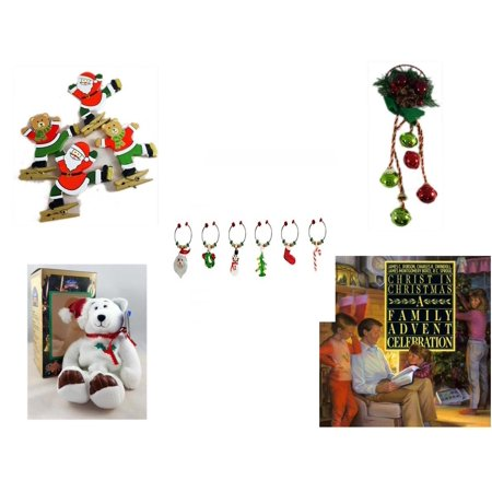 Christmas Fun Gift Bundle [5 Piece] - Set of 4 Wooden Clothes Pin Ornaments - Festive Holly Berry & Pinecone Door Knob Jingler - LSArts Wine Glass Charms  Set (Doir Glasses)