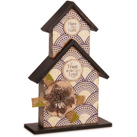 "Simple Spirits - ""Have Faith, Trust in the Lord"" Beige Floral Birdhouse Plaque Home Decor 8.5"""