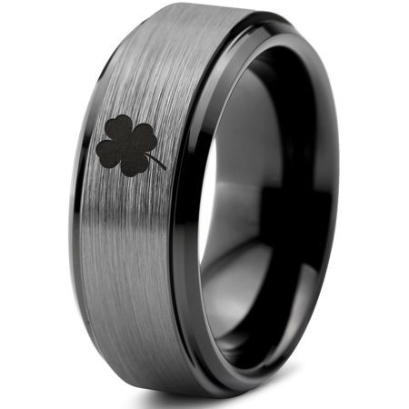 Tungsten Lucky Charm Four Leaf Clover Band Ring 8mm Men Women Comfort Fit Black Step Bevel Edge Brushed Gray Polished