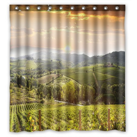 PHFZK Sunset View Shower Curtain, Chianti Vineyard Landscape in Tuscany, Italy Polyester Fabric Bathroom Shower Curtain 66x72 inches (Italy Shower Curtain)