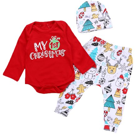 a47021234 Gaono - Newborn Toddler Baby Girl/Boy Christmas Outfit Letter Printed Long  Sleeve Romper Bodysuit Top Xmas Cartoon Pants Hat - Walmart.com