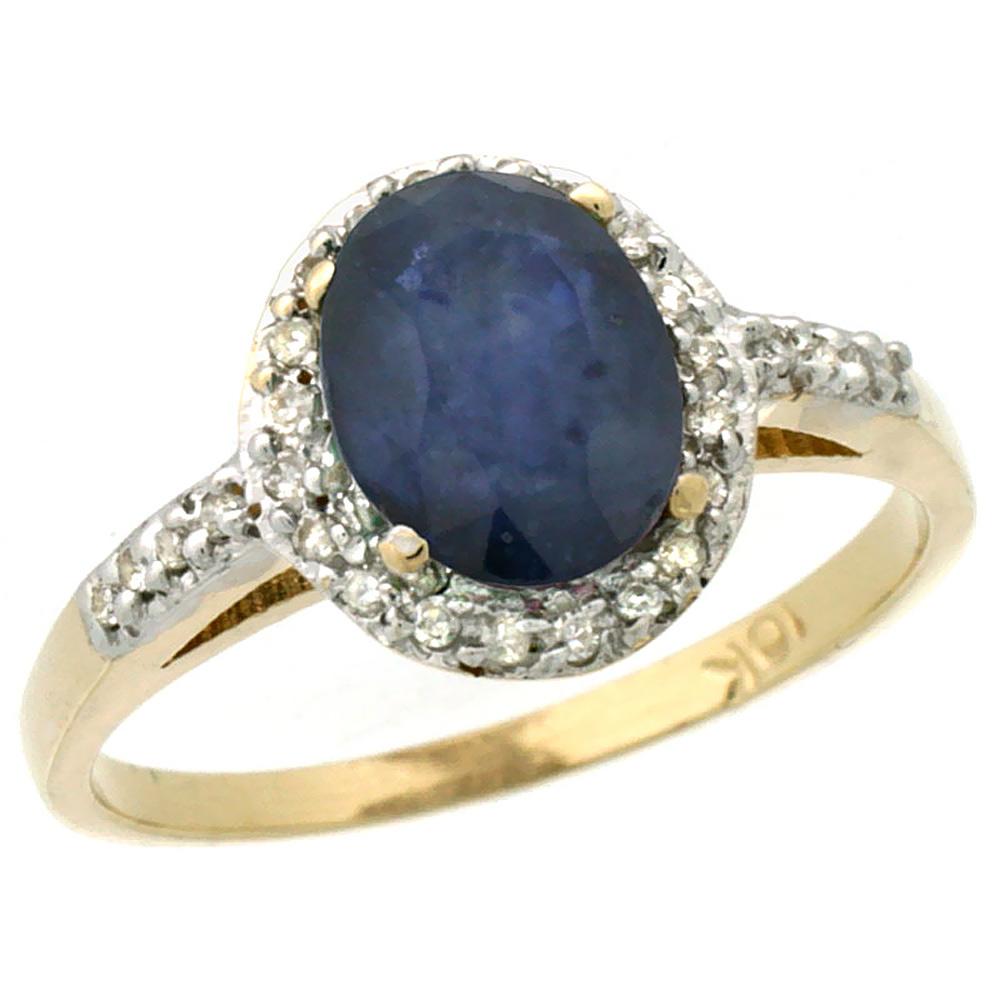 14K Yellow Gold Diamond Natural Australian Sapphire Ring Oval 8x6mm, size 6 by Gabriella Gold