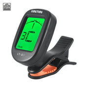 LINGTING LT-01 Mini Clip-On Digital Electronic Tuner 360° Rotatable with 2 Backlight LCD Screen for Guitar Chromatic Bass Ukulele C/ D Violin