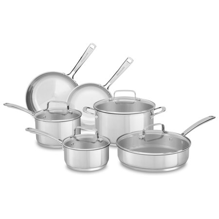 Kitchenaid Stainless Steel 10-Piece Cookware Set (Kc2Ss10Ls) (kitchen aid 10 piece set)