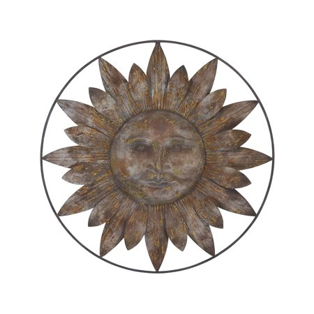 Decmode - Large Black & Bronze Metal Sun Garden Decor, Hanging Outdoor Wall Decor, Spring & Summer Outdoor Decor, Spring Decorating Ideas, Summer Decorations for Your Garden, 30? x 30? Black Large Outdoor Hanging