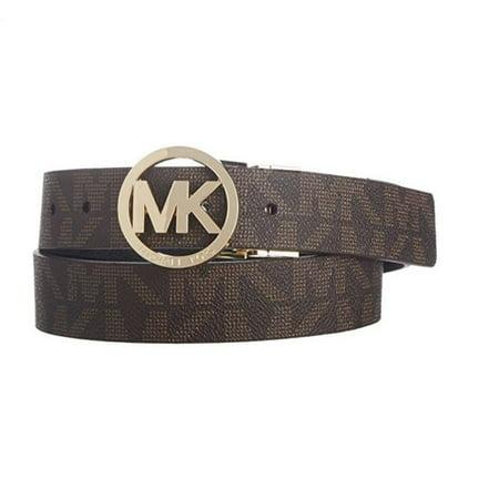 - Michael Kors MK Logo Signature Monogram Twist Reversible Belt, Brown To Black 551342C, XL