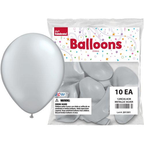 "Way to Celebrate Silver 12"" Balloons, 10pk"