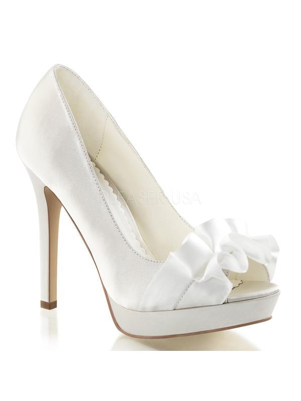 "LUMINA42/IVSA Fabulicious Shoes 4 3/4"" Lumina Ivory Satin Size: 5"