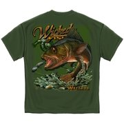 Wicked Fish Walleye Fishing T-shirt by , Military Green