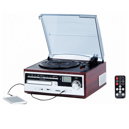 TechPlay ODC26WD 3 Speed Retro Classic Turntable W/ CD player, MP3, AM/FM Radio, SD and USB ()