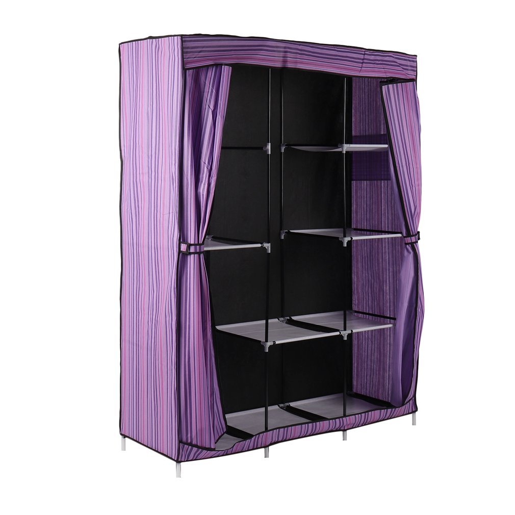 "69"" Portable Closet Storage Organizer Clothes Wardrobe Shoe Rack with Shelves"