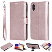 iPhone XS Max Case Wallet, iPhone XS Max Case, Allytech Premium Leather Flip Case Cover & Card Slots Pocket, Support Wireless Charging Detachable Slim Case for Apple iPhone XS Max 2018 (Rosegold)