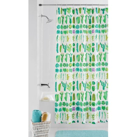 Mainstays Mojave Fabric Shower Curtain 70 Inch X 72 Multi Green