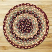 Earth Rugs C-357 Burgundy / Gray / Cream Round Braided Rug 4 Feet x 4 Feet