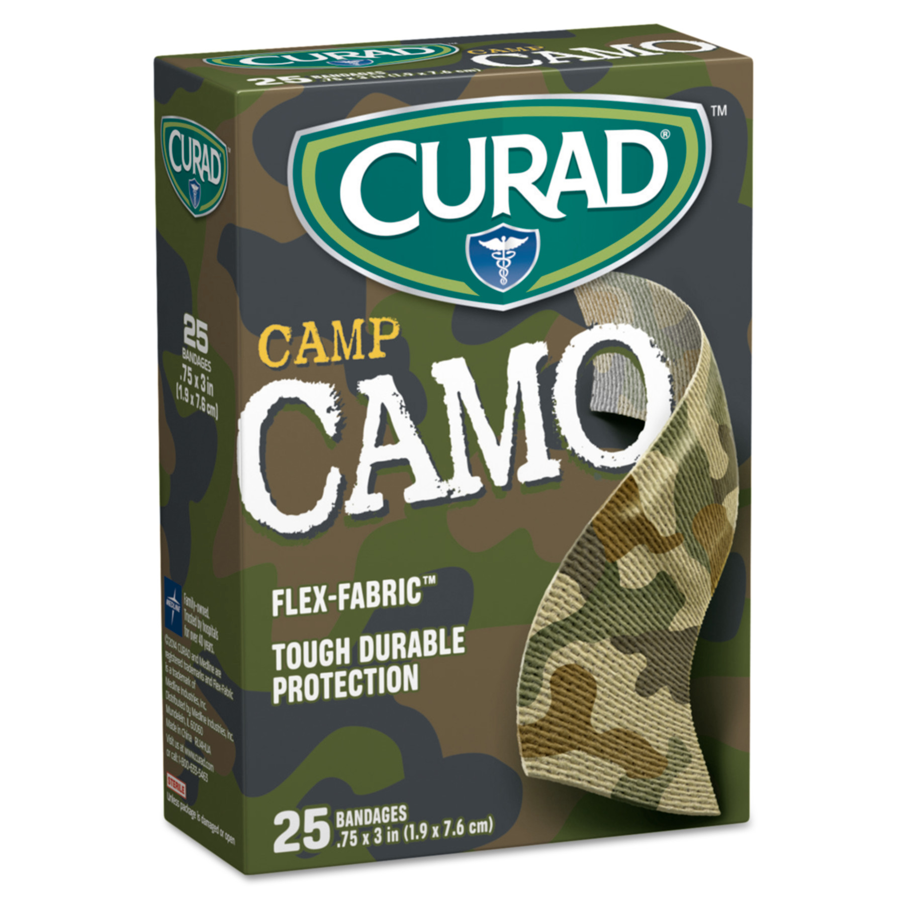 "Curad Kids Adhesive Bandages, Green Camouflage, 3/4"" x 3"", 25/Box"