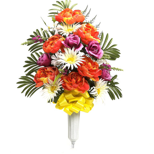 "36"" Peony, Rose and Daisy Floral Arrangement, Orange Peonies, Purple Roses, Accent Daisies"
