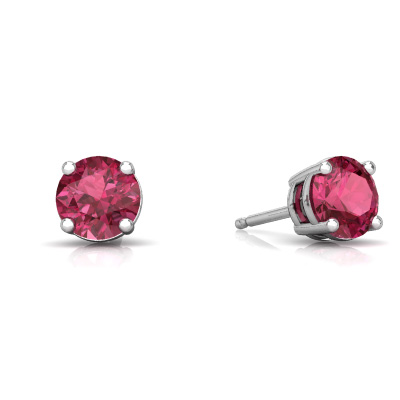 Pink Tourmaline Round Stud Earrings in 14K White Gold by