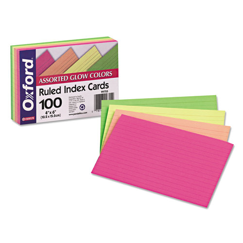Oxford Glow Index Cards, 4 x 6, Ruled, Assorted, 50-Pack