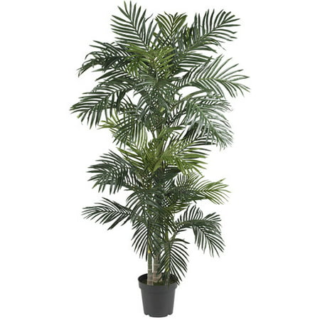 Nearly Natural 6.5-ft. Artificial Golden Cane Palm Silk Tree, (5 Schefflera Silk Tree)