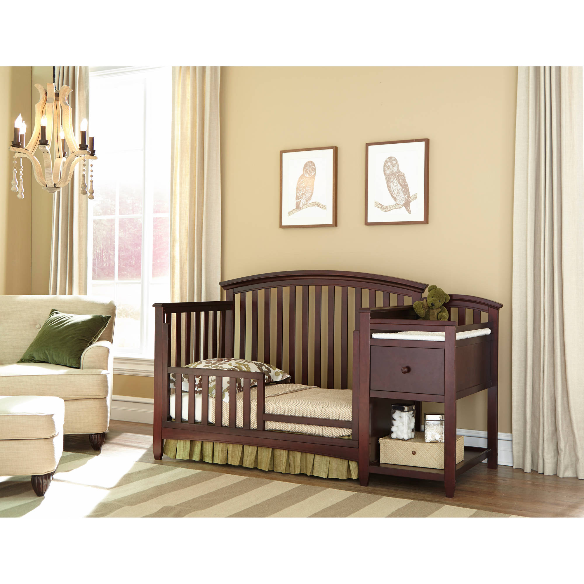Imagio Baby Montville 4 In 1 Fixed Side Crib And Changing Table Combo With  Pad, Chocolate Mist   Walmart.com