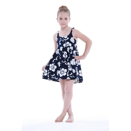 Girl Elastic Strap Hawaiian Luau Dress in Navy Hibiscus