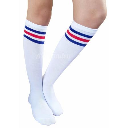 AM Landen Womens Stripe Knee High Socks Stripe Socks Cheerleader Socks Uniform Socks (A. White/Blue and Red Stripe)