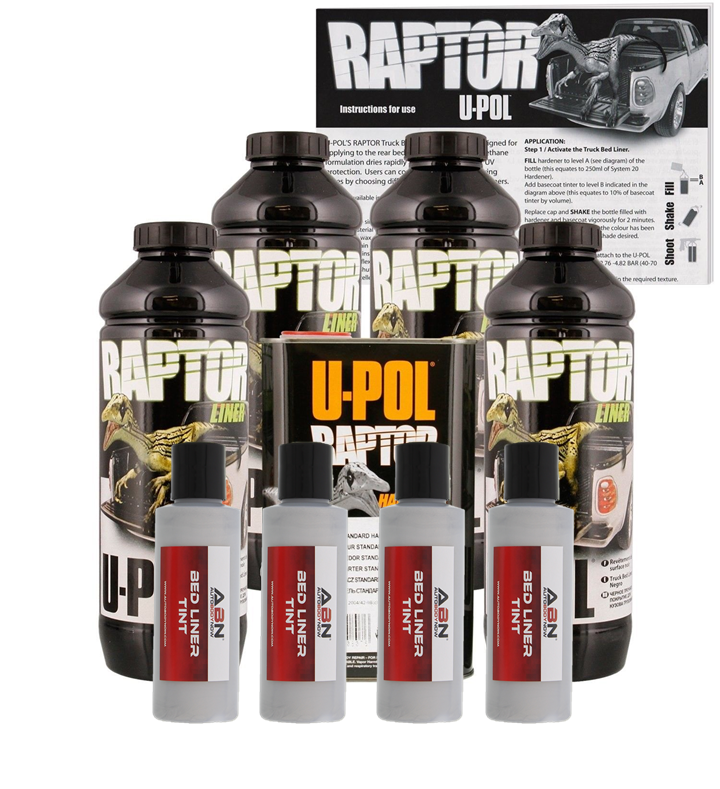 U-POL Raptor Tintable Bright Silver Bed Liner & Texture, 4 Liters Upol