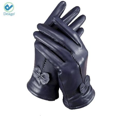79511f812 Deago - Deago Women's Classic Gloves Driving Winter Warm Nappa Leather  Gloves (Fleece or Cashmere Lining) - Walmart.com