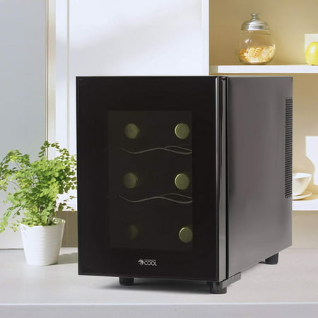 Commercial Chef CCWT060MB Thermal Electric 6 Bottle Wine Cellar, Black
