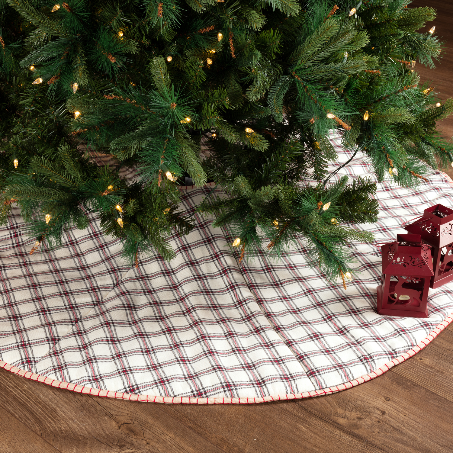 Ivory White Farmhouse Christmas Decor Amory Cotton Chambray Plaid 60 Diameter Tree Skirt Walmart Com Walmart Com