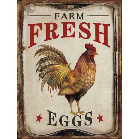 Barnyard Designs Farm Fresh Organic Eggs Retro Vintage Tin Bar Sign Country Home Decor 10  X 13