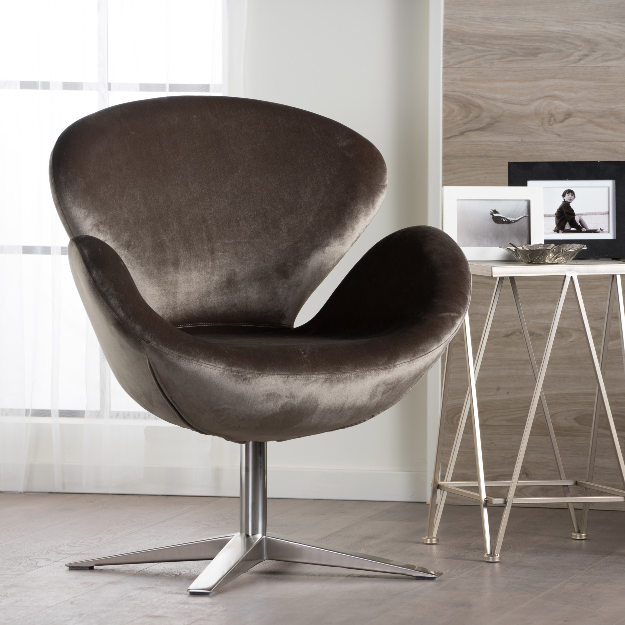 Noble House Keenan Modern New Velvet Swivel Chair, Grey